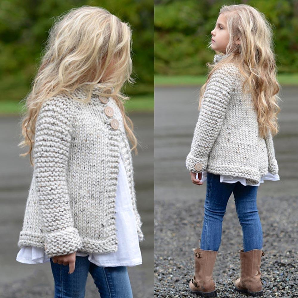 Balita Anak-anak Pakaian Baju Anak Anak Pakaian Tombol Rajutan Jubah Kardigan Sweter-Internasional