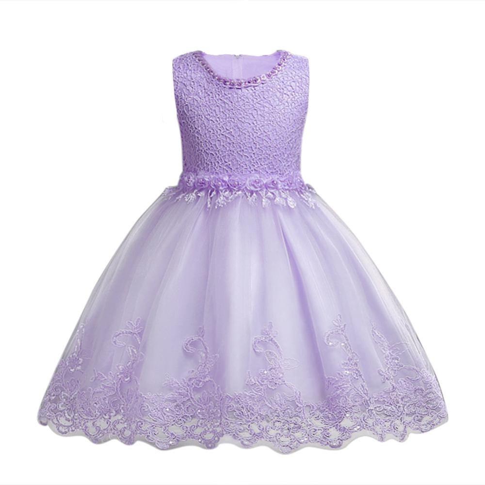 Balita Gadis Bayi Ungu Tutu Dress Bunga Pearl Renda Mesh Gaun untuk Pesta-Internasional
