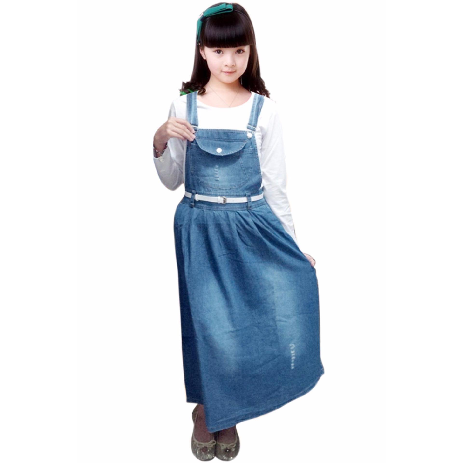 Bananana Plain Ripped Overall Skirt Blue Diskon Akhir Tahun