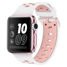 Band untuk Apple Watch 42mm dengan Kasus Bebas, Alritz Paten Silicone Sport Tali Penggantian Gelang Wristband untuk Apple Watch Nike +, Seri 2, Seri 1, Sport, Edition, Putih & Pink-Intl