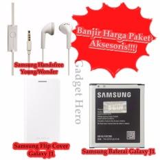 Banjir Harga Paket 3 Aksesoris Produk Barang Samsung Flip Cover Galaxy J1/Samsung Baterai Galaxy J1/Samsung Handsfree Young S6310