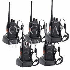 Miliki Segera Baofeng Walkie Talkie 5 Pcs Radio Ht 16Ch Bf 888S Senter Led Headset Free Komunikasi Uhf 16 Channel Memory Clear Audio Handy Talkie Praktis Handal