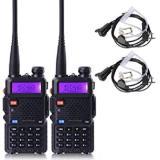 Baofeng Walkie Talkie Ht Handy Talkie Uv5R Uv 5R 1 5 Lcd 5W 128 Ch Dual Band Uhf Vhf Hitam 2 Pcs Terbaru