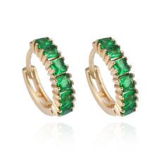 Baru 18 K Gold Berlapis Green Square Anting Bulat Kristal Mode untuk Wanita Anting