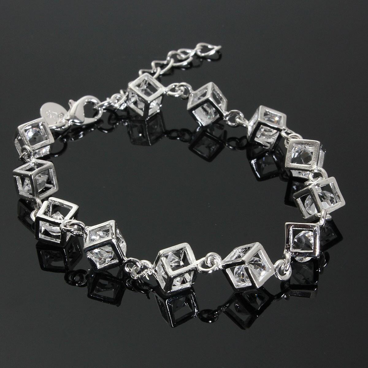 Promo Baru 925 Sterling Perak Berlapis Kristal Gelang Rantai Pesona Ruangan Oem