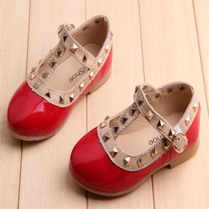 Toko Baru Girls Buckle Sandal Keling T Strap Menunjuk Toe Flats Pu Kulit Putri Anak Sepatu I62 Warna Merah Lengkap Tiongkok