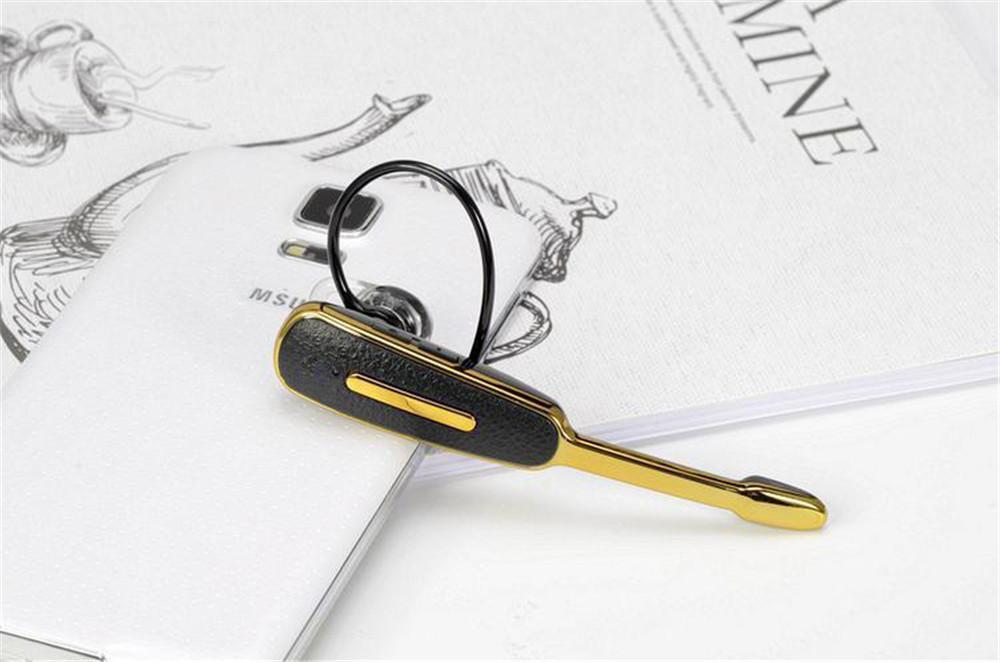 Baru HM1000 Nirkabel 4.1 Bluetooth Lengkeng Pola Headset Telinga Hook Olahraga Bluetooths Bebas Genggam Earphone Headphone For Smart Phone-emas AND Hitam