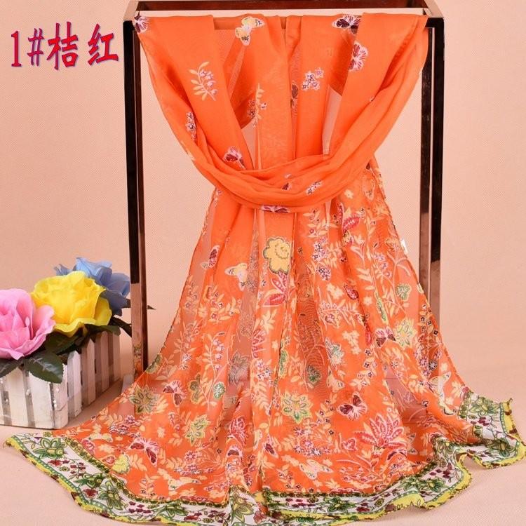 Baru Sifon Wanita Floral Soft Chiffon Floral Pattern Silk Scarf Selendang Kasmir Jilbab Pashima Bandana Printed Designer Scarf Bunga Pakaian Kasual Soft Scarves Long Bungkus Pashmina 160*50 Cm JH988913-Intl