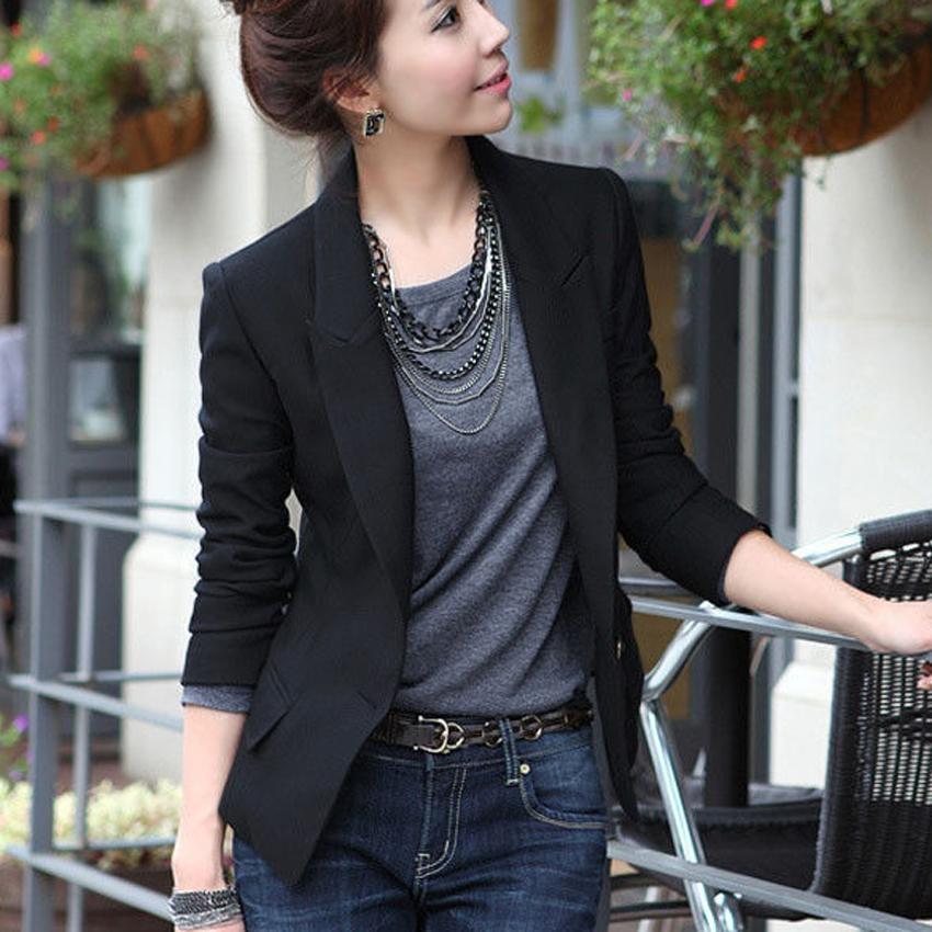 ... Baru Wanita Slim Blazer Office Ladies Fashion Satu Tombol Slim Kasual Bisnis Suit Murni Warna Mantel