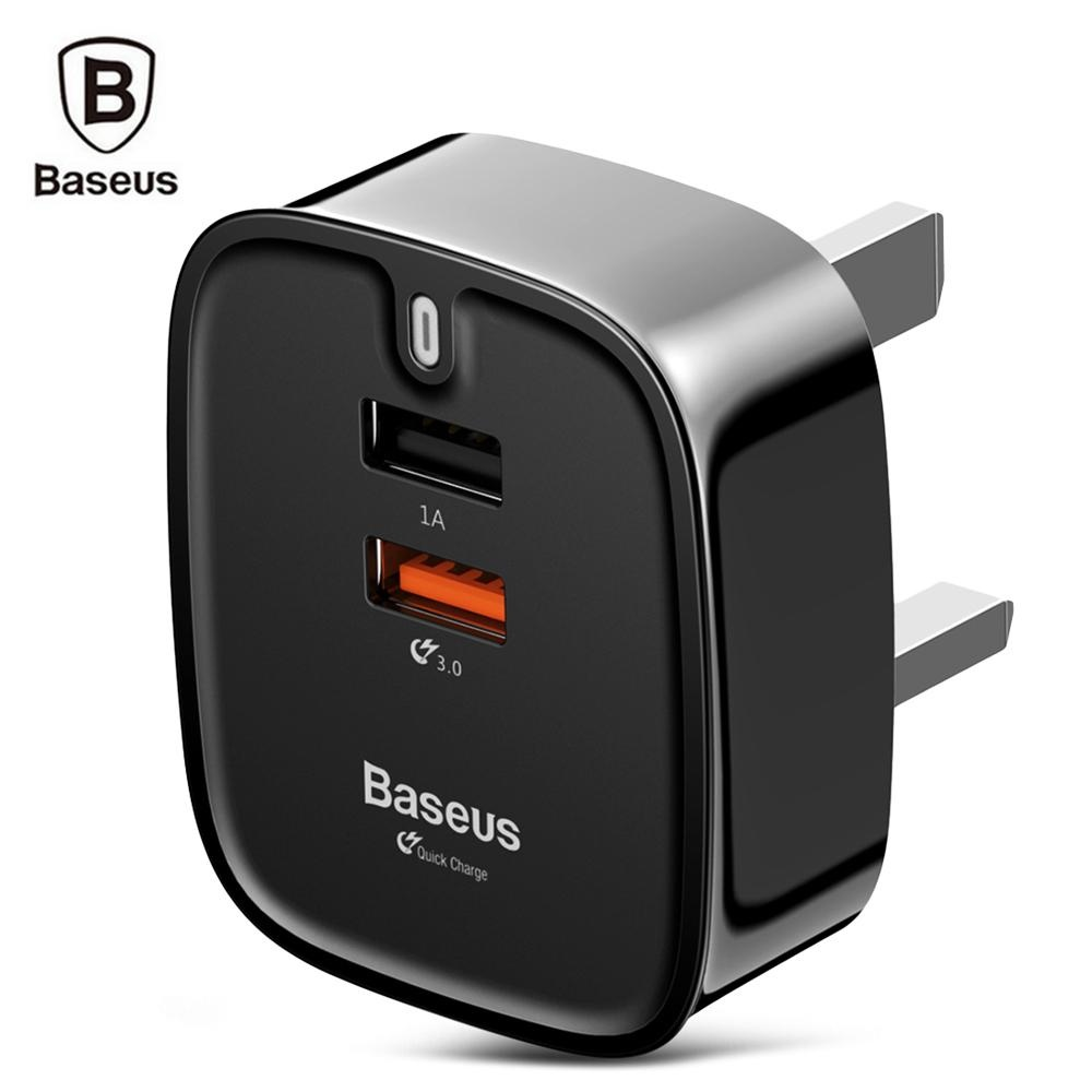 Jual Baseus Funzi Qc 3 Dual Usb Intelligent Wall Travel Charger Adaptor Steker Inggris Internasional Tiongkok Murah