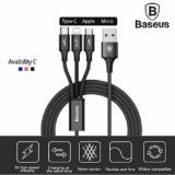 Jual Baseus Cable Rapid Series 3 In 1 Micro Usb Lightning Type C 3A 1 2M