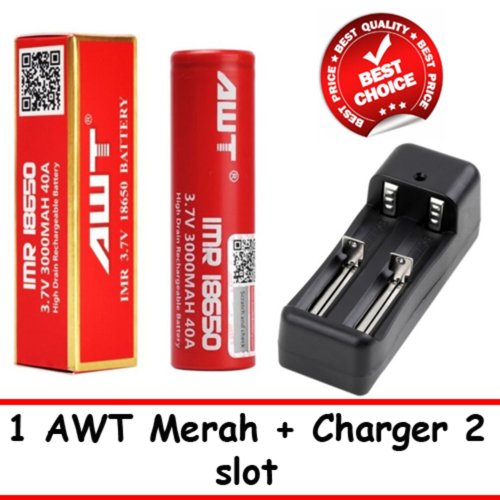 Baterai AWT 18650 3.7V Baterai Vape Vapor Rokok Elektrik Rechargeable Li-ion + Charger 2 Slot | Lazada Indonesia