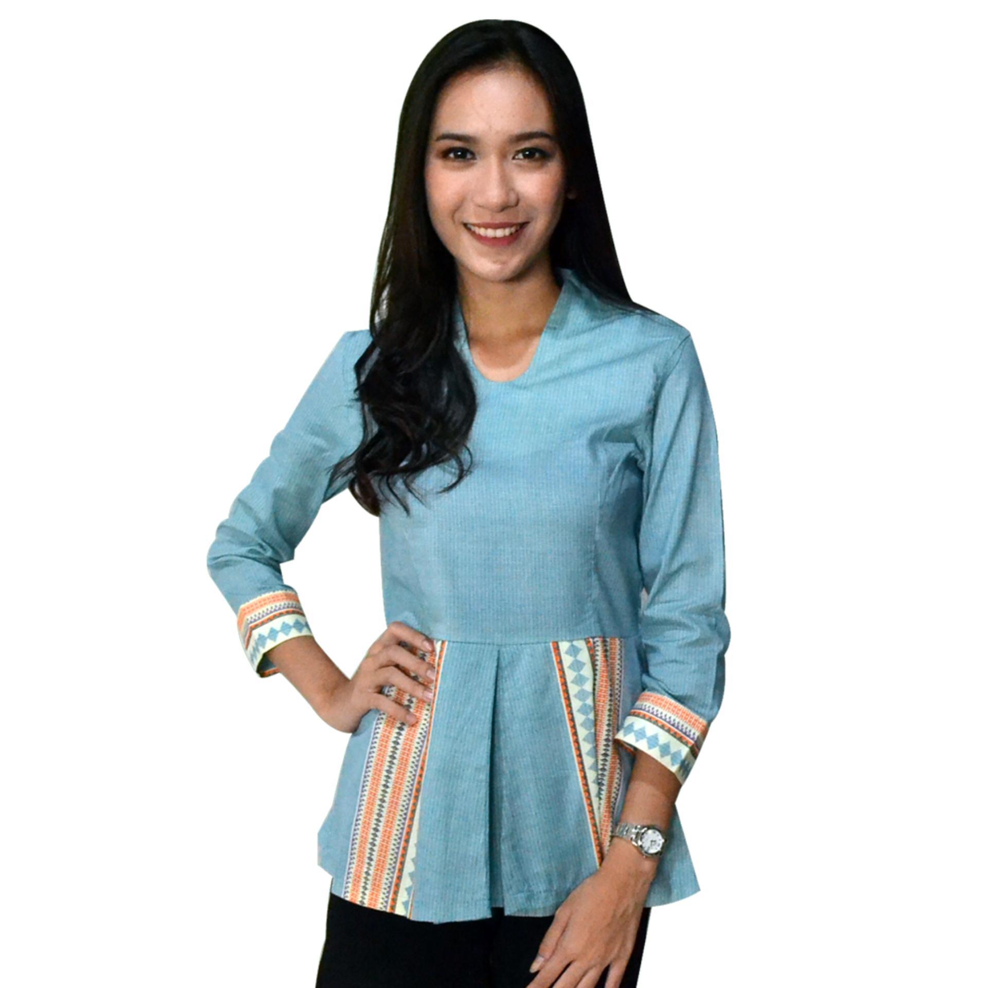 Spesifikasi Batik Arjunaweda Blus Batik Wanita Raster Troso Biru Murah