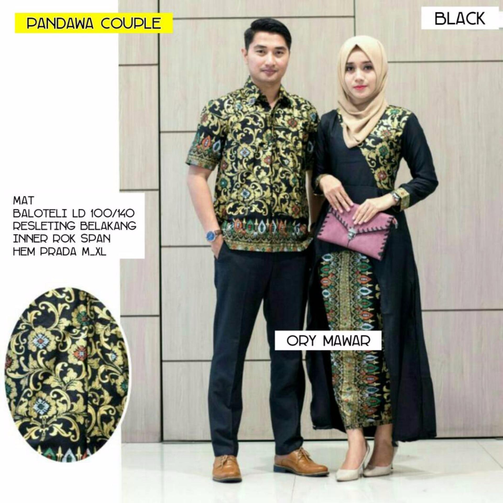 Batik Couple / Batik Sarimbit Pandawa Couple - HITAM