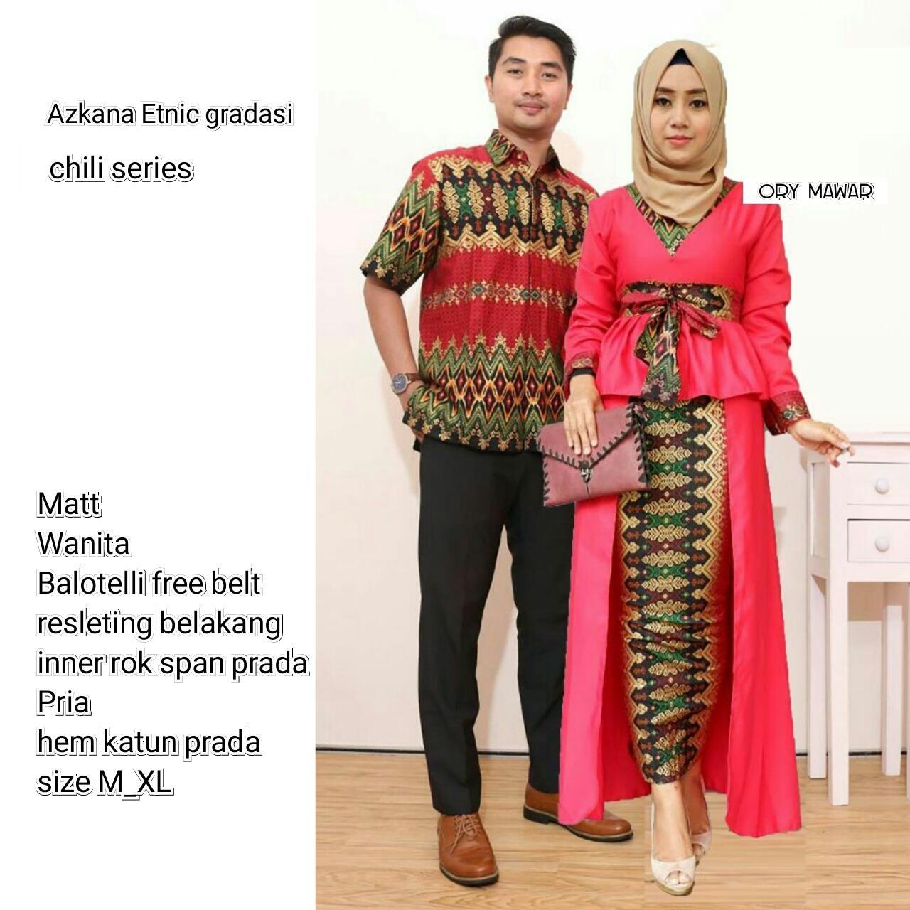 Batik Couple / Couple Batik / Baju Muslim Wanita Terbaru 2018 / Gamis Wanita Terbaru / Batik Sarimbit Azkana Gradasi Couple