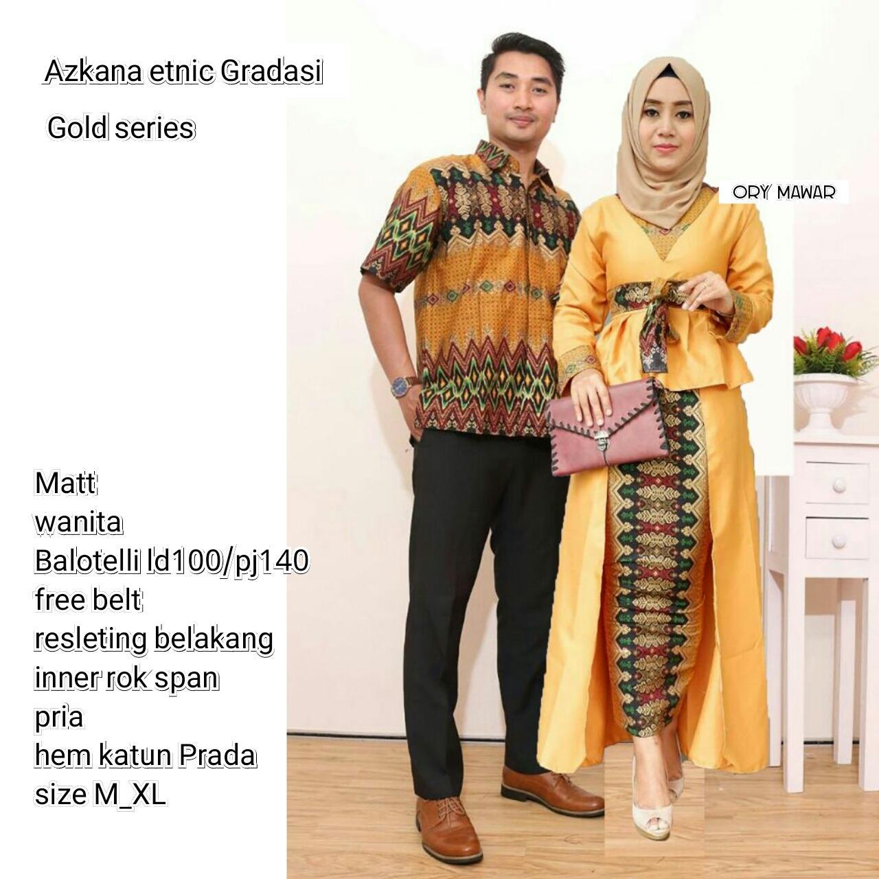 Batik Couple / Couple Batik / Batik Sarimbit Azkana Gradasi Couple