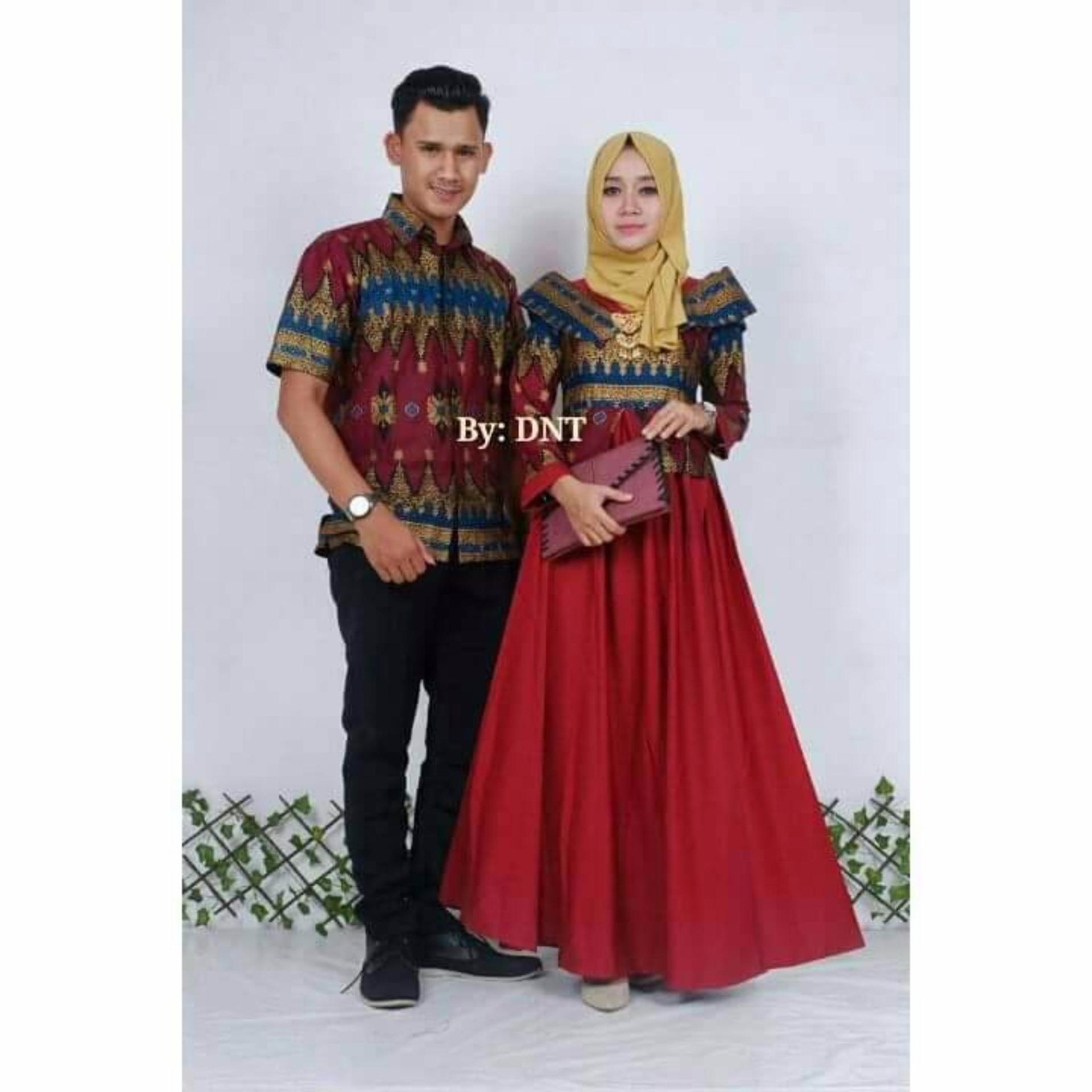 Jual Batik Couple Batik Sarimbit Princess Jasmine Maron Online