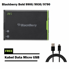Battery 1230mAh Original Blackberry Bold 9900 / 9930 / 9790 - Black + Free Kabel Data Micro USB