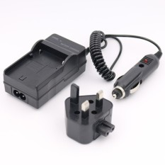 Baterai Charger untuk JVC Everio GZ-HM300 GZ-HM300SEKGZ-HM300BUGZ-HM300BUS AC + DC Wall + Car (Hitam)-Intl