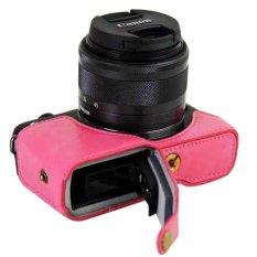 Baterai Port Desain, PU Leather Camera Case untuk Canon EOS M10 15-45mm 55-200mm DSLR Pelindung Casing Cover Case-Internasional