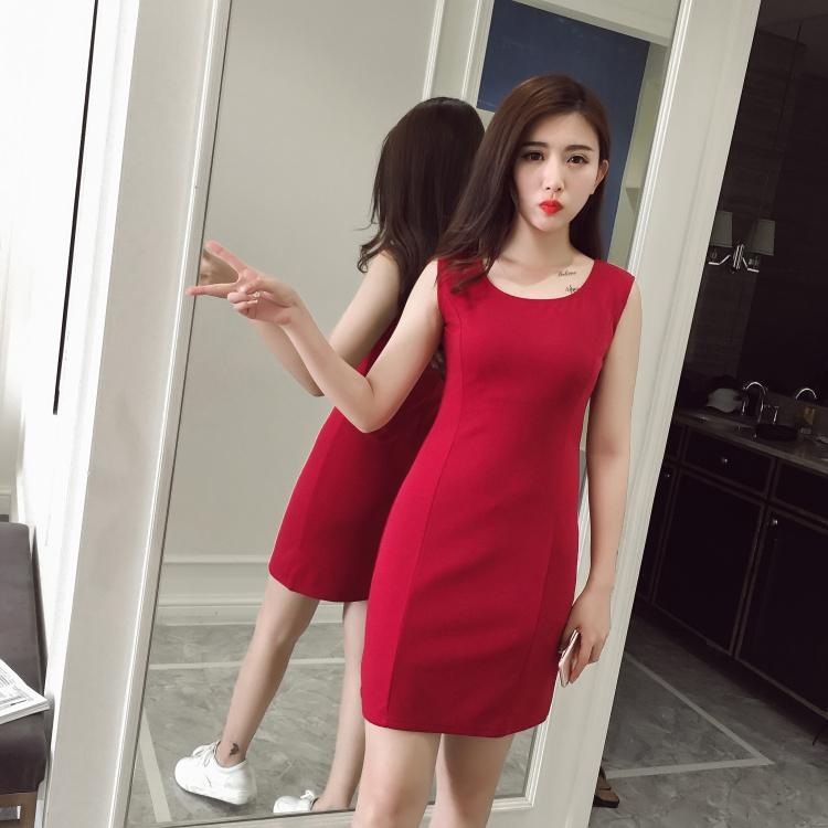 Jual Beli Online Bawahan Tanpa Lengan Kecil Rok Berbentuk Huruf A Dress Tanpa Lengan Merah Model Musim Panas