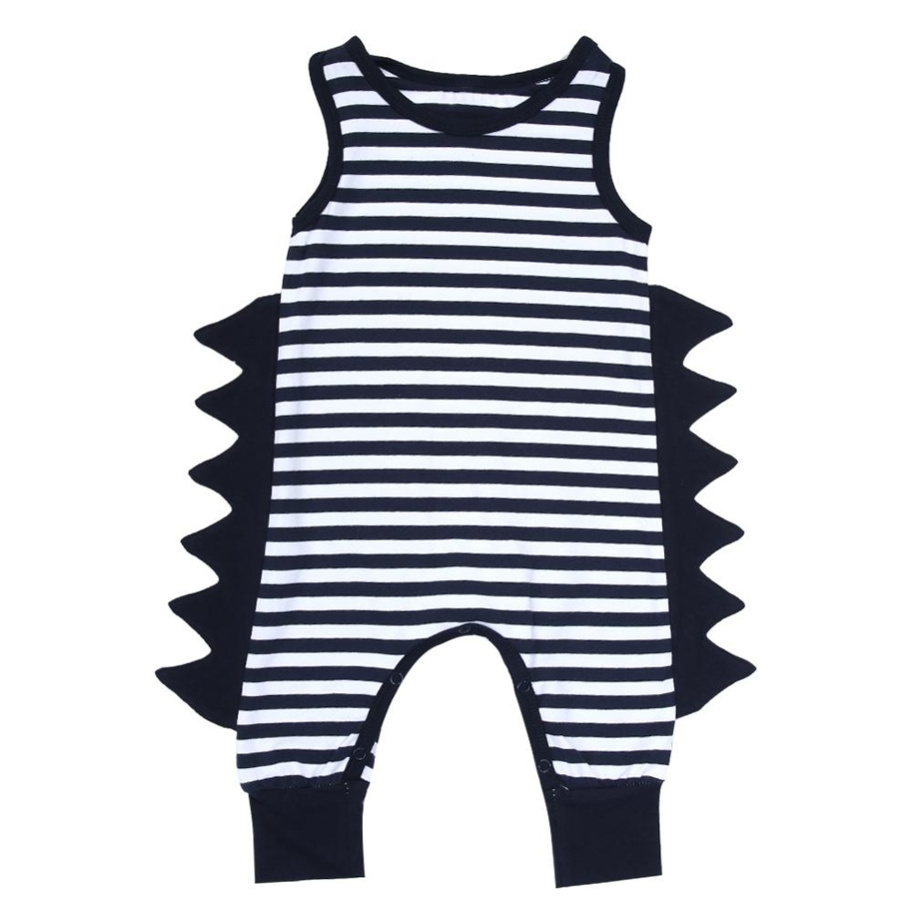 Bayi Yang Baru Lahir Anak 3D Striped Baju Monyet Sleeveless Jumpsuit Pakaian Bermain Pakaian (Hitam)-Intl