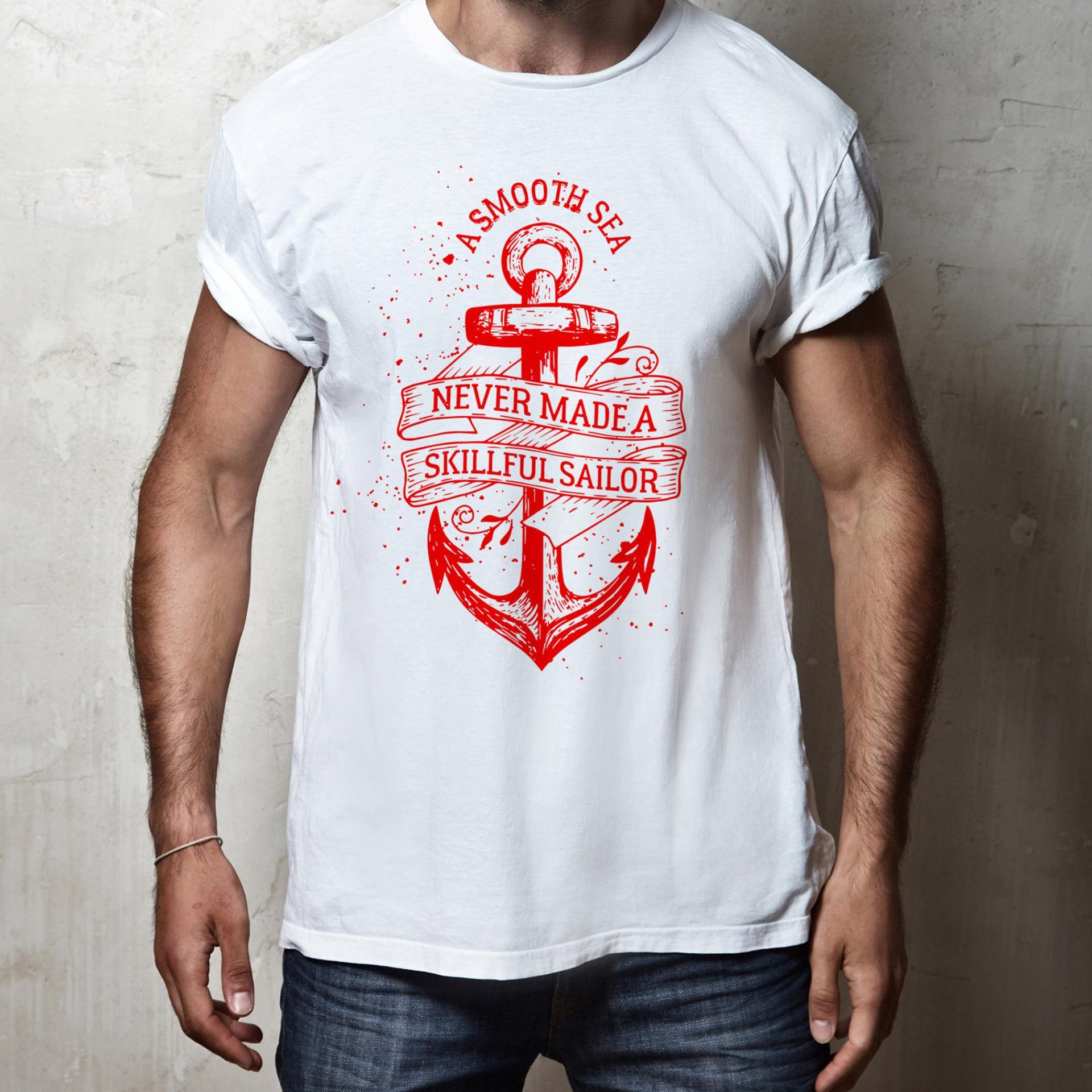 BC Arts / Skillful Sailor Quotes Red / Kaos Pria Wanita / T-shirt Pria Wanita / Kaos Putih / Kaos Distro