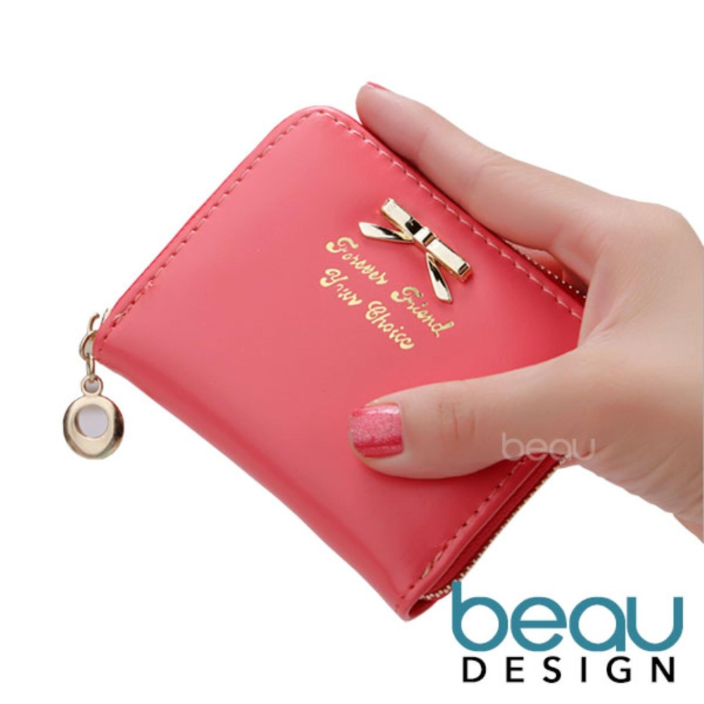 Beau Design Dompet Wanita Import Batam Branded Model Terbaru Kulit Small Ribbon Women Purse Wallet