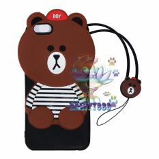 Beauty Boy Brown Bear Case 3D For Oppo A39 / A57 Silicone 3D Brown Bear Clothes Design List Black + Necklace Kalung Brown  / Silicone / Soft Case / Case Boneka Baju Beruang / Case Boneka Unik / Casing iPhone - Brown Line