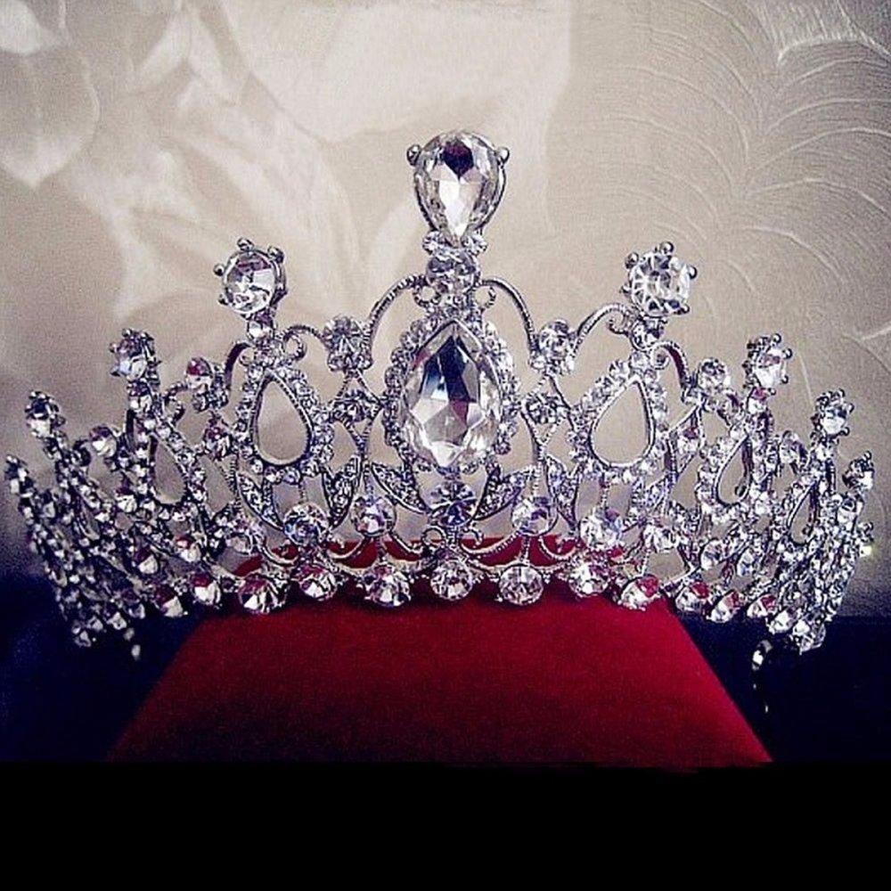 Kecantikan Ratu Kecantikan Berlian Imitasi Pengantin Pernikahan Tiara Prom Sisir Crown Fashion USA Perak-Intl