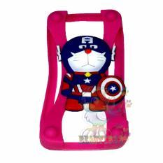 Beauty Silicone Bumper Ring Doraemon Captain Universal For All Smartphone Silicone Bumper Ring Case 3D  /  Rubber Jelly Silicon Bumper Ring Case Animasi / Bumper Karet Universal / Bumper Silicone / Casing Hp - Pink / Merah Muda