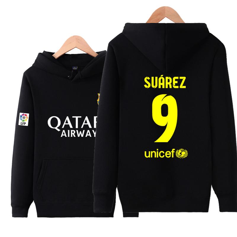 Some Dalam Pria Kasual Pakaian Olah Raga Pelatihan Sweter Tanpa Kancing Kaos Sweater Baju Sepak Bola (Barcelona Nomor 9 Suarez Hitam)