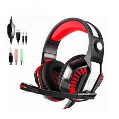 Beexcellent GM-2 Gaming Headset dengan Mic, Xbox One Headset, PS4 Headset, PC Gaming Headset, Surround Sound Over-Ear Gaming Headphone dengan Pembatalan Kebisingan, Kontrol Volume dan Pencahayaan LED, Hitam + Merah-Internasional