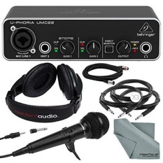 Behringer U-PHORIA UMC22 2in2out USB Audio Interface and Deluxe Bundle w/ Samson R10S Mic + Headphones + Xpix 1/4