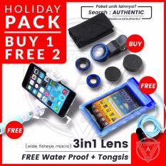 Beli 1 Dapat 2 - Paket Liburan Authentic - Lensa 3in1 Fisheye - Wide - Macro Lensa Universal Gratis Tongsis Mini Holder U Lipat Tombol Free Bonus Water Proof
