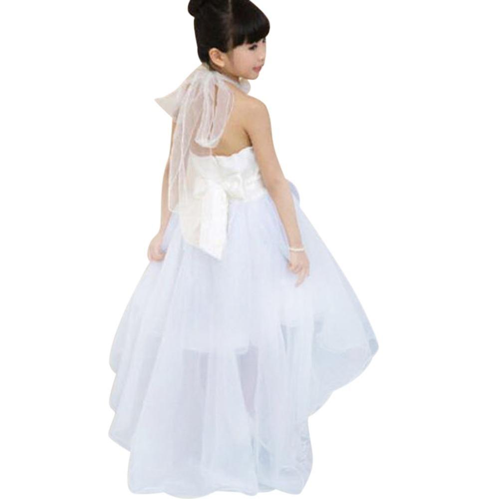 Bellamall: Nyaman Pakaian Anak-anak Kid Girl Long Pernikahan Putri Bridesmaid Bowknot Lapisan Baju Putih 3-9Years-Intl