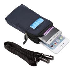 Sabuk Tas Pinggang Pouch dengan Carabiner untuk IPhone 7 Plus/Samsung Galaxy Note7, Ukuran: 16.5x9X3 Cm-Biru Tua-Internasional