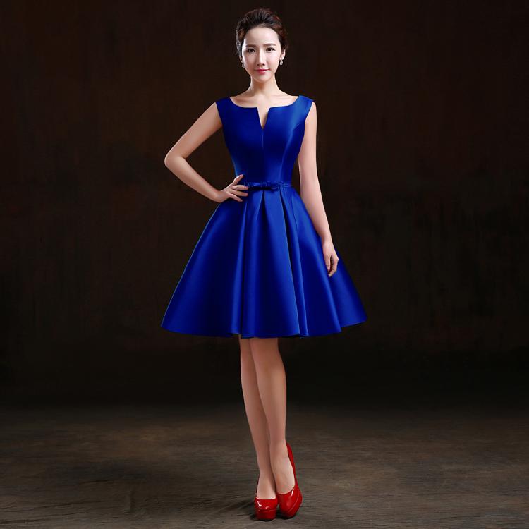 Review Benang Merah Baru Slim Gaun Baju Pelayanan Safir Biru Ayat Pendek Oem