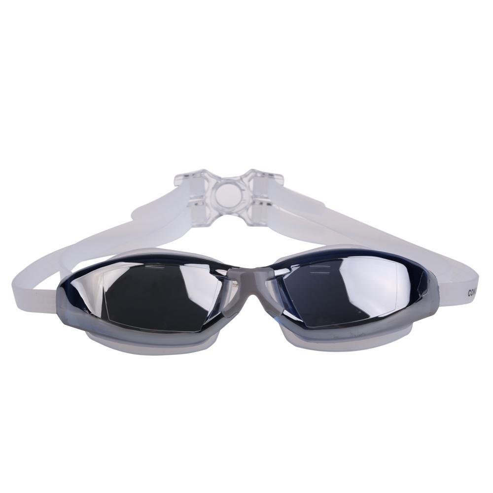 Plated Swimming Goggles Anti-fog PC Lens Silicon Head Strap (Blue)