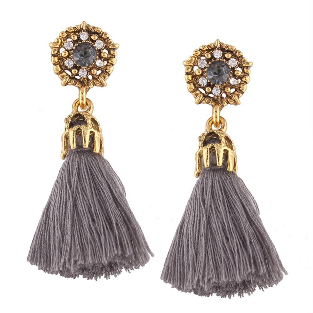 Bertatahkan Permata Anting Wanita Fashion Rhinestone Panjang Menjuntai Rumbai Ear DROP Warna: Abu-abu-Intl