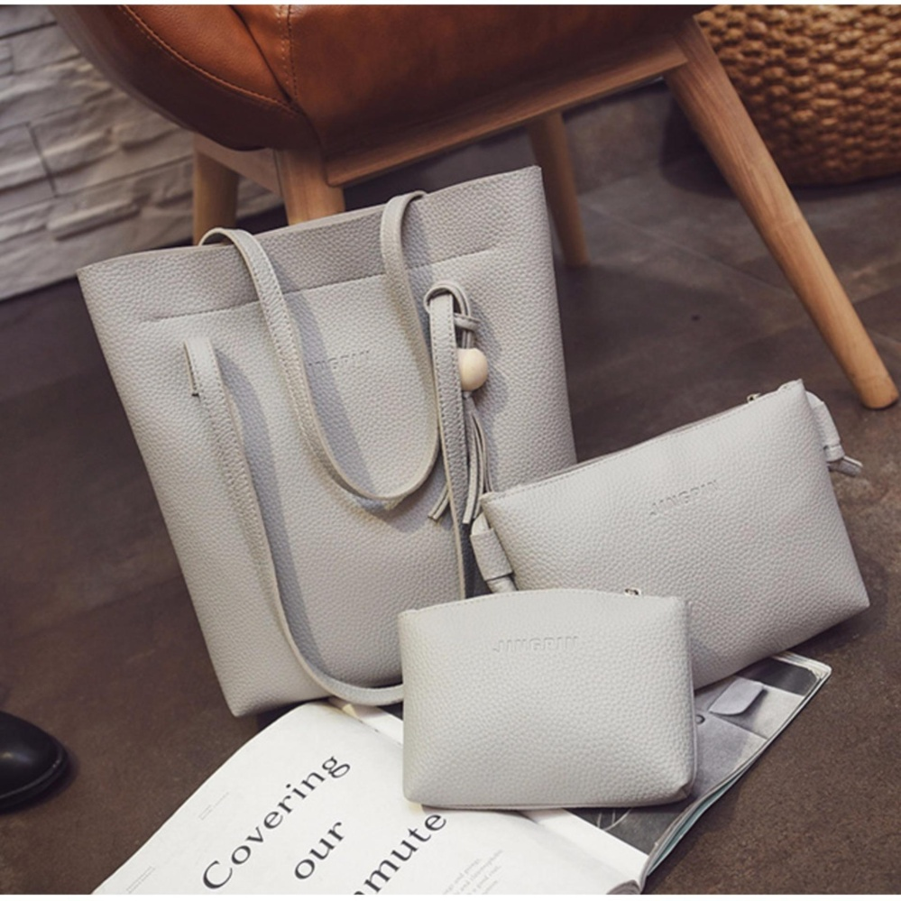 Beli Best 3In1 Tassel Bucket Bag Leather Korean Fashion Women Handbags Shoulder Bags Abu Dengan Kartu Kredit