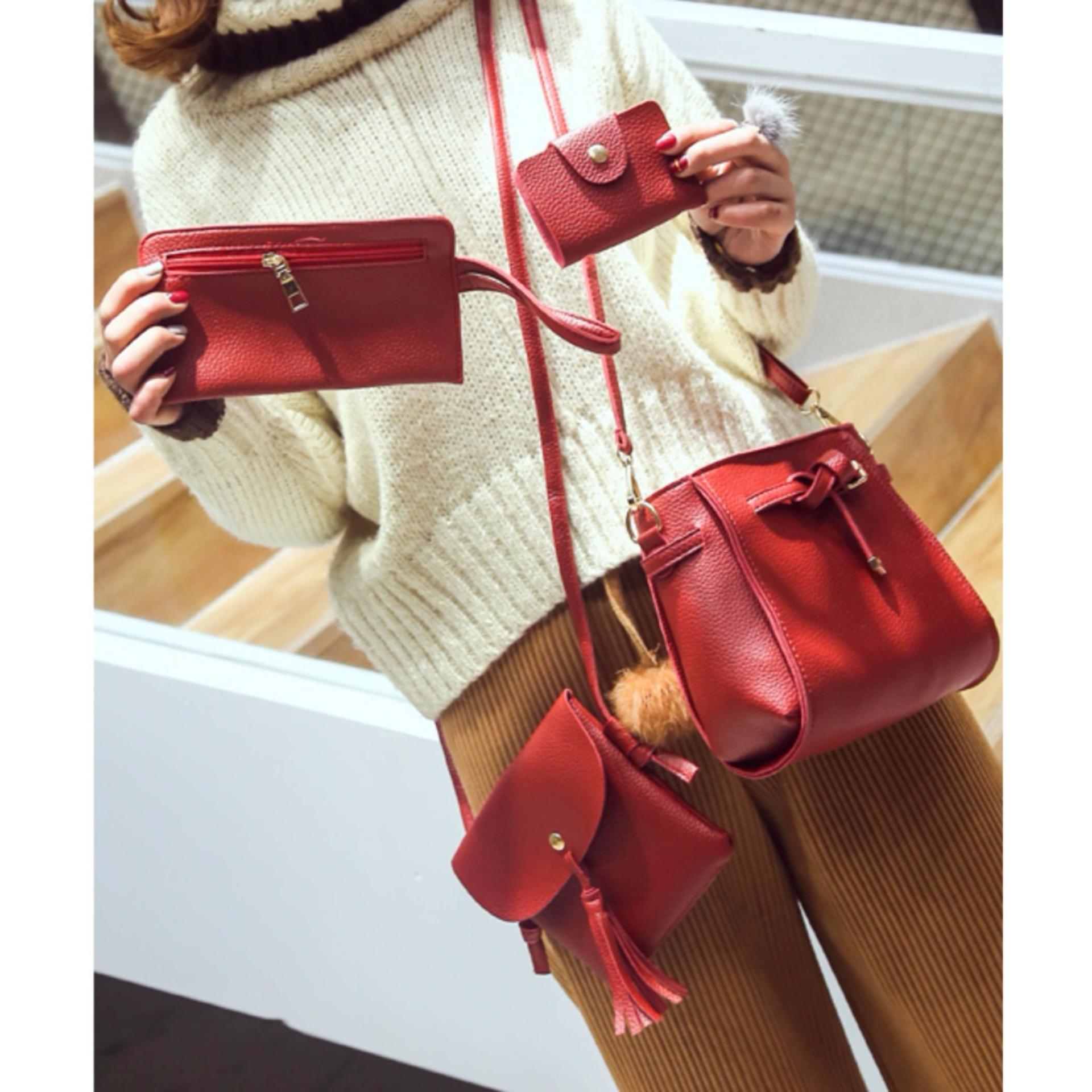 Best 4In1 Tassel Bucket Bag Leather Korean Fashion Women Handbags Shoulder Bags Red Dki Jakarta Diskon