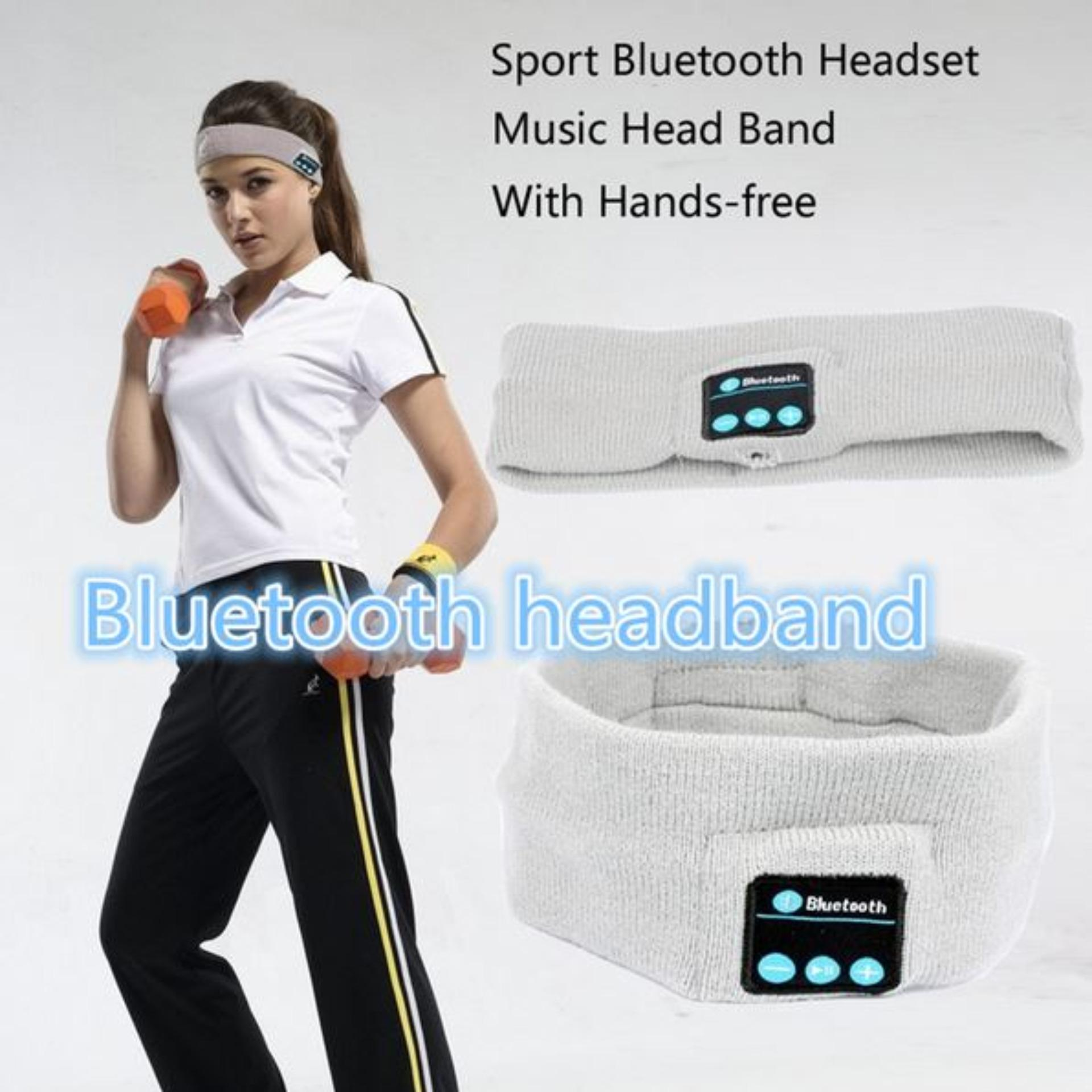 Jual Beli Best Hat Headband Olahraga Musik Stereo Bluetooth Earphone Built In Microphone Earphone Topi Wireless Bluetooth Headband Di Banten
