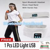 Pusat Jual Beli Best Hat Headband Olahraga Musik Stereo Bluetooth Earphone Built In Microphone Earphone Topi Wireless Bluetooth Headband Bonus Free 1Pc Led Light Usb Banten