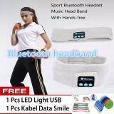 Cara Beli Best Hat Headband Olahraga Musik Stereo Bluetooth Earphone Built In Microphone Earphone Topi Wireless Bluetooth Headband Free 1 Pc Led Light Usb Free 1 Pc Kabel Data Smile