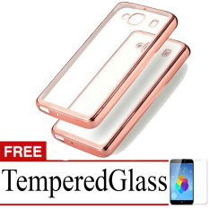 Best Seller Softcase Ultrathin List Chrome For Xiaomi Redmi 2s + Free Temperred Glass - Rose Gold