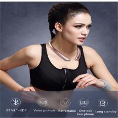 Beli Betreasure Retractable Earphone Wireless Bluetooth Headset Binaural Stereo Headphone Sport Neckband Dengan Mic Intl Kredit Tiongkok