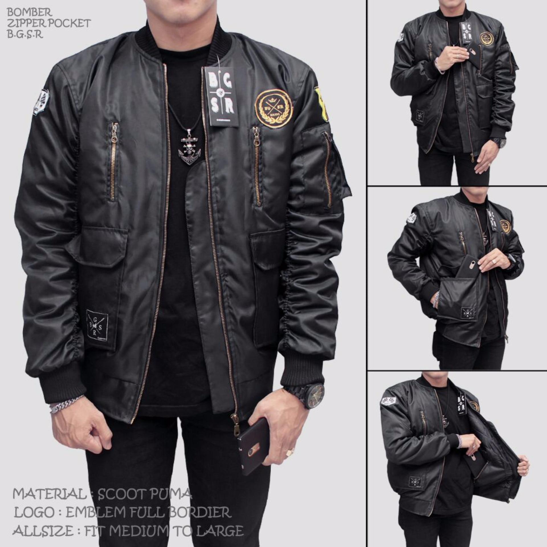 Toko Bgsr Bomber Pocket Zipper Black Bgsr Di Jawa Barat