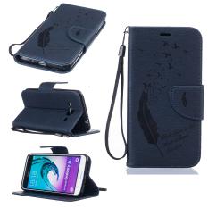 Dompet Bulu Burung dengan Slot Kartu Case PU Kulit Jual PENUTUP untuk Stan Samsung Galaxy J3 (Biru Tua) (International)