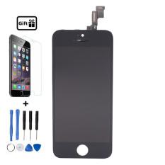 (Hitam) untuk Tidak Mati Pexel IPhone 5 S Display LCD Digitizer Layar Sentuh dengan Frame + Free Tempered Glass + Alat Perbaikan Gratis